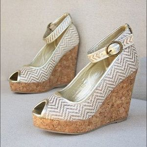 Joyfolie $160 Metallic Espadrille Wedge